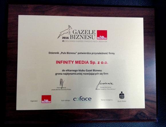 Infinity Media z Gazelą Biznesu BIZNES, Media i PR - Warszawski niezależny dom mediowy Infinity Media otrzymał tytuł Gazeli Biznesu – wyróżnienie przyznawane przez Puls Biznesu dla dynamicznie rozwijających się małych i średnich firm.